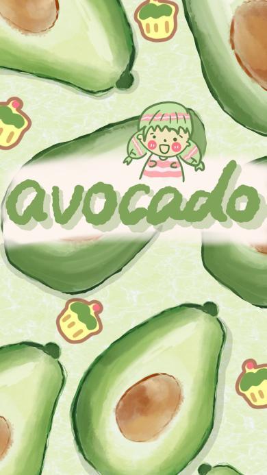 插画 水果 牛油果 avocado 绿色