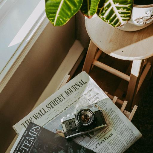 报纸 书籍 相机 盆栽