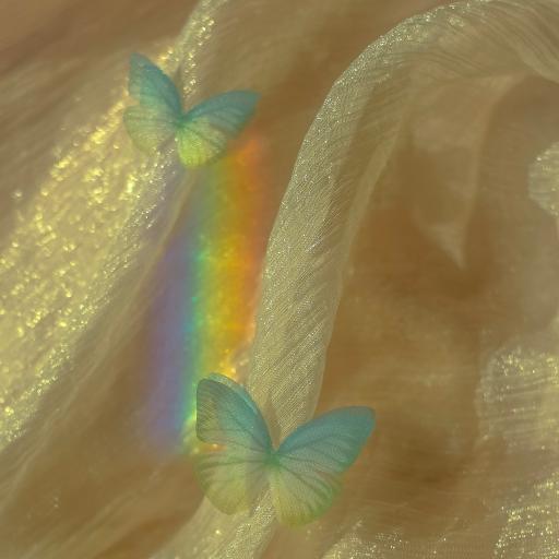 布料  工艺 蝴蝶 彩虹光