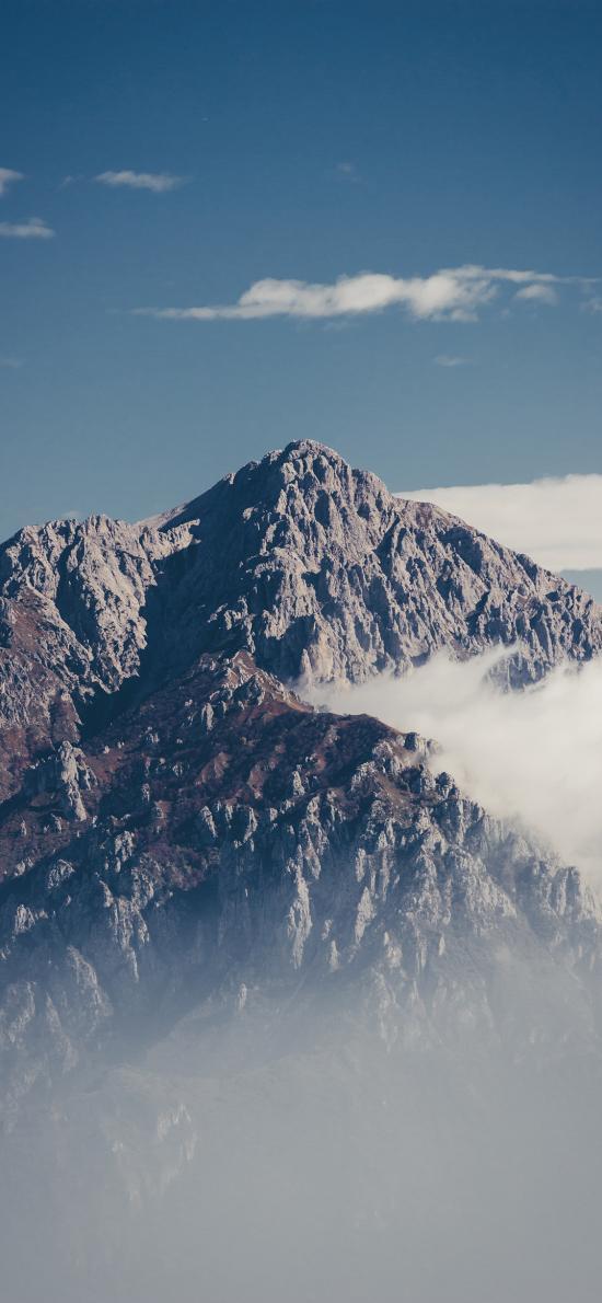 山顶 天空 高山 岩石