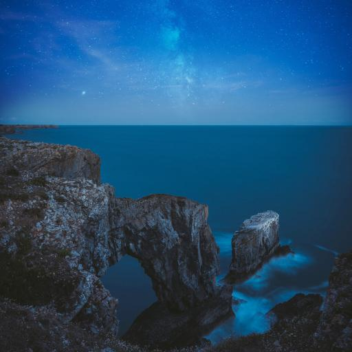 夜晚 星空 海岸 礁石