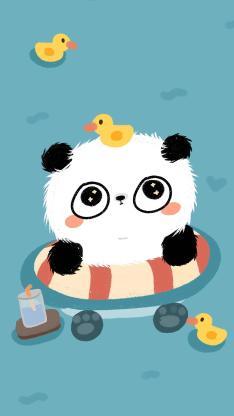 卡通 熊猫 泳圈 小黄鸭
