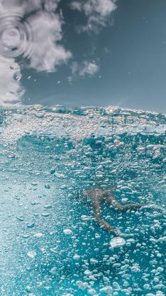大海 海水 潜水 气泡