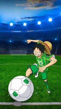 日漫 海贼王 路飞 踢足球