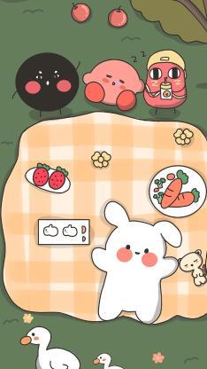 卡通 萌物 兔子 星之卡比 野餐