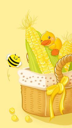 卡通 小黄鸭 蜜蜂 玉米