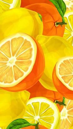 橙子 柠檬 手绘 色彩 平铺