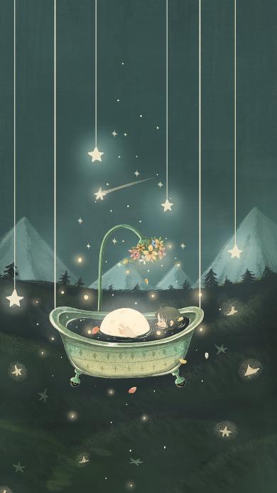 插画 浴缸 女孩 星星 花朵