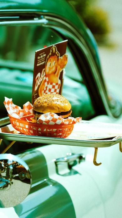 汉堡包 快餐 汽车 食物 绿色
