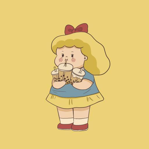 珍珠奶茶 小女孩 可爱 黄色 饮料