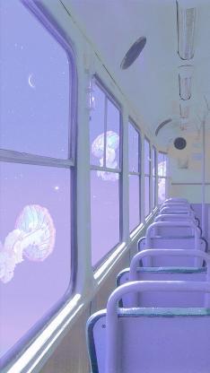 水母 紫色 巴士 座椅 车子