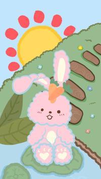 卡通 兔子 太阳 插图