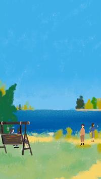 风景 插画 蓝天 海水 清新