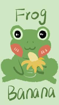 卡通 青蛙 frog banana