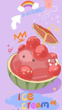 卡通 西瓜 summer ice cream
