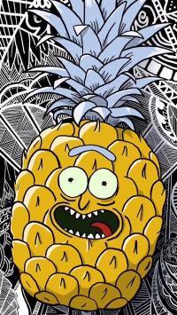 卡通 菠萝 表情 惊恐