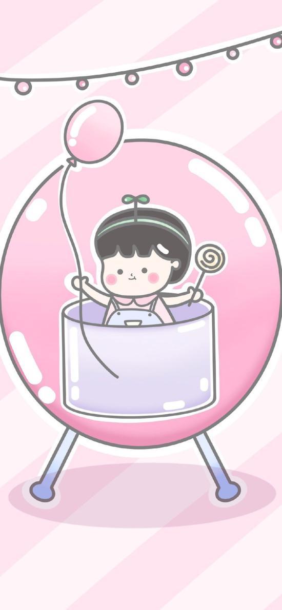 卡通 女孩 气球 粉色少女心