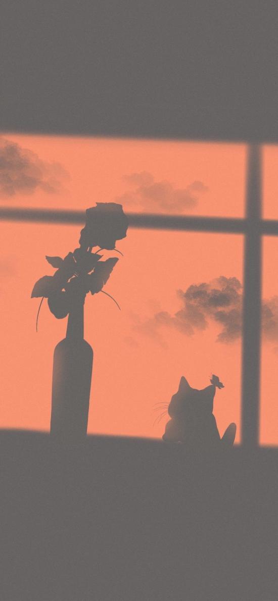 影子 插花 猫咪 蝴蝶 温馨