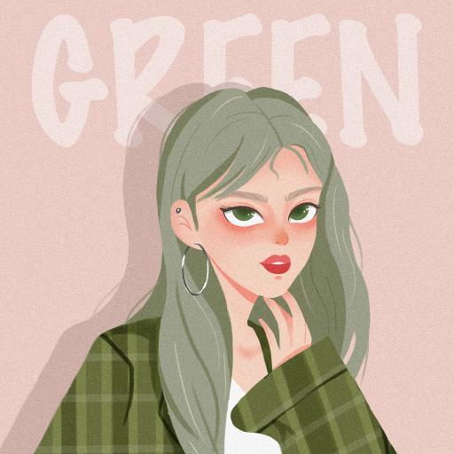女孩 插画 格子西装 green 绿色