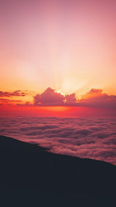 夕阳 云海 高空 云彩