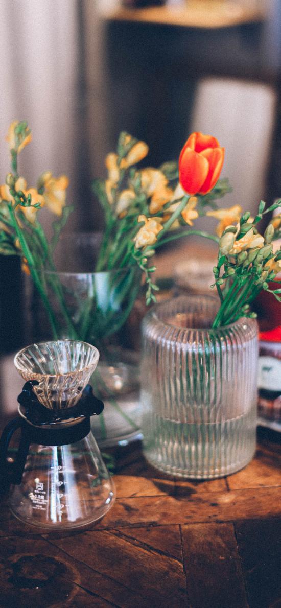 花瓶 玻璃瓶 郁金香 小花