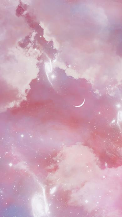 天空 粉色 月亮 星空 梦幻 月牙