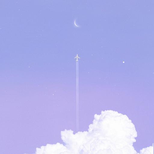 飞机 航空 紫色 云朵 月亮 天空
