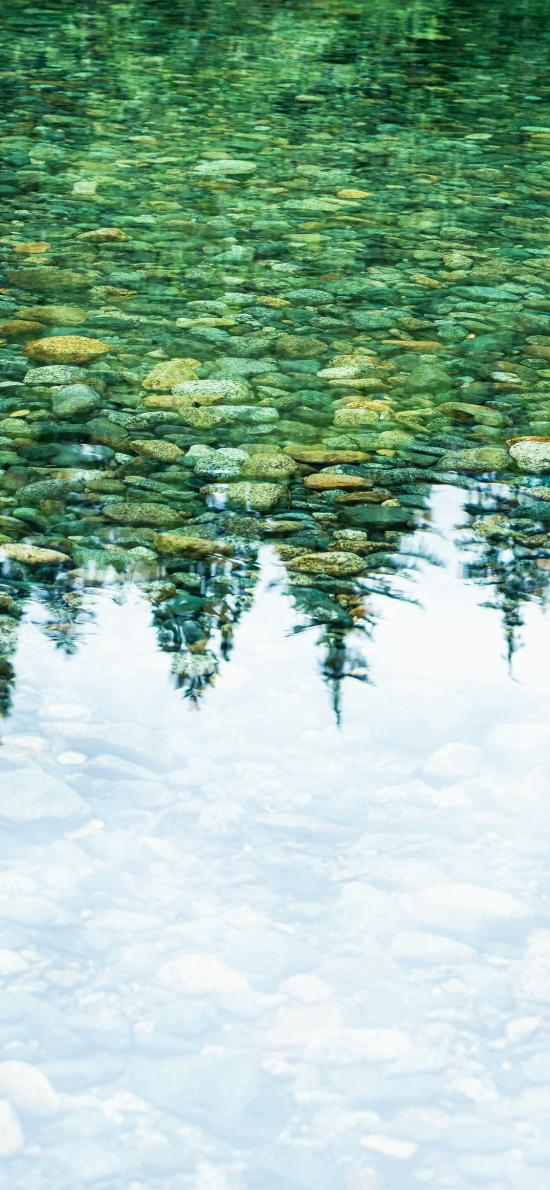 山水 岩石 鹅卵石 水面