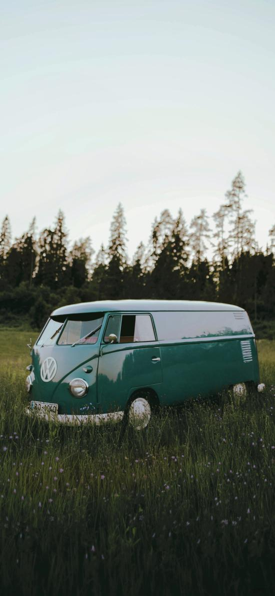 郊外 草坪 汽车 小巴车