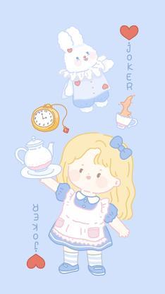 小女孩 兔子 蓝色 小丑 joker