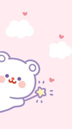 熊 粉色 情侣 爱情 星星 爱心