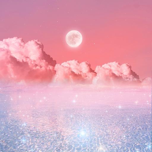 月光之城 月亮 粉色 星光 云朵