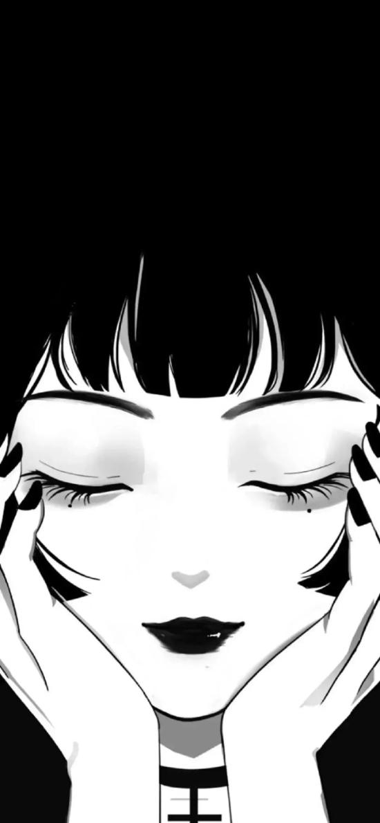 日系 动漫少女 公主切 黑白