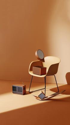 静物 椅子 音响 色系