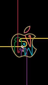 苹果 logo 品牌 线条 黑色