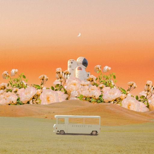 暮色幻想中 宇航员 月亮 太空服 巴士 插画
