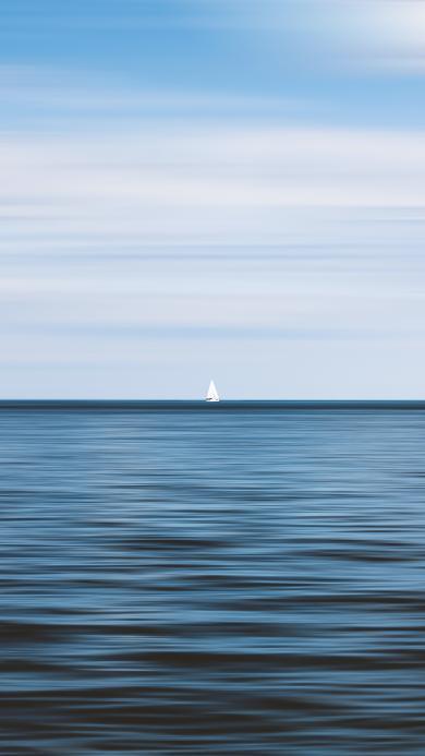 大海 海平面 帆船 海天一线