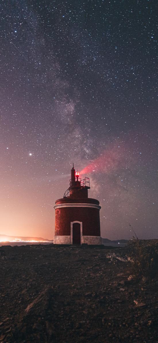 夜晚 灯塔 夜晚 星空 璀璨