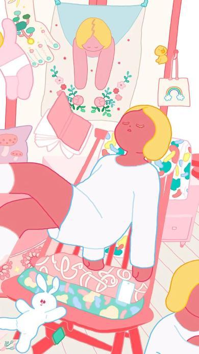女孩 插图 粉色系 兔子