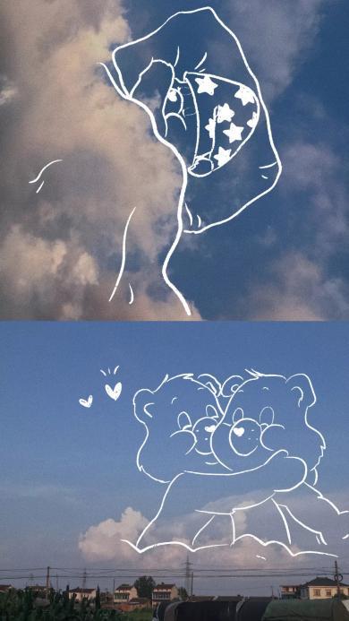 天空 彩虹熊 爱心熊 简笔