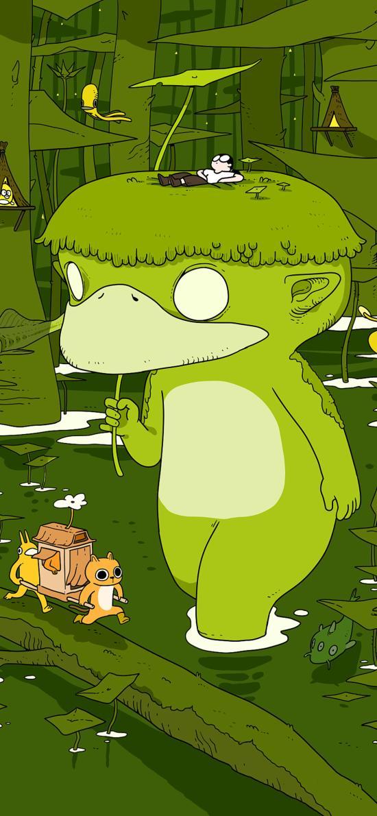 插图 绿色 逃避型人格 林遭遇