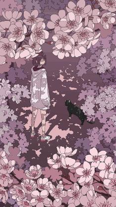 女孩 樱花 紫色 黑猫 影子 花丛