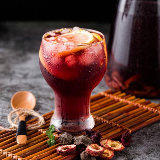果汁 山楂 洛神花 饮品 冰块