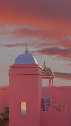 建筑 粉色 纪念碑谷 太空 城堡
