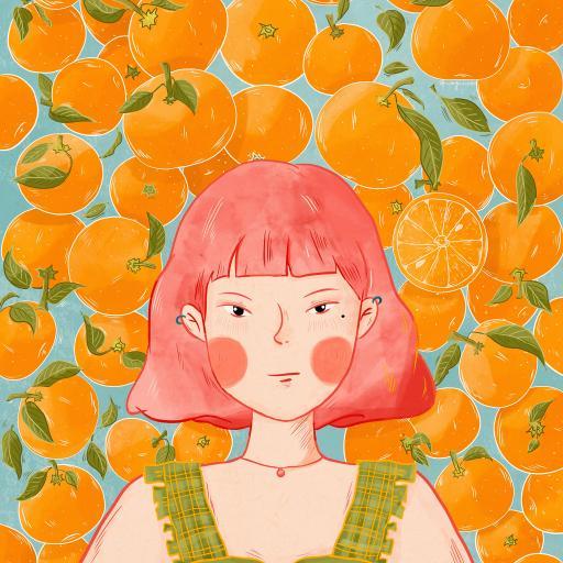 绘画 女孩 短发 橘子 柑橘