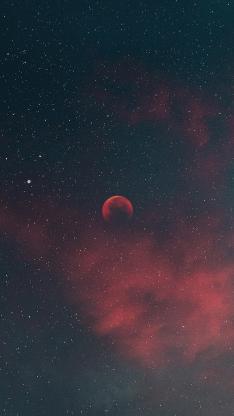 夜空 星空 月亮 月球 天空