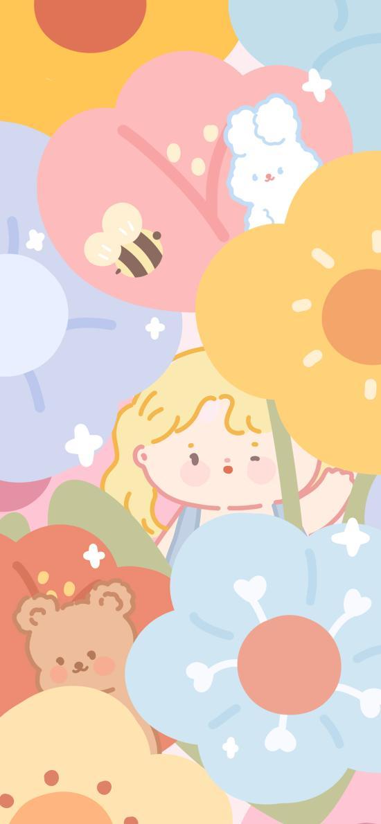 女孩 花丛 蜜蜂 熊 兔子 招手