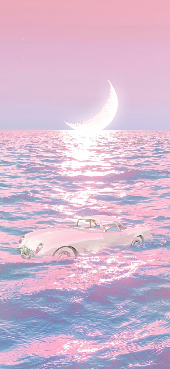 月光 月亮 海面 粉色 海水 汽车