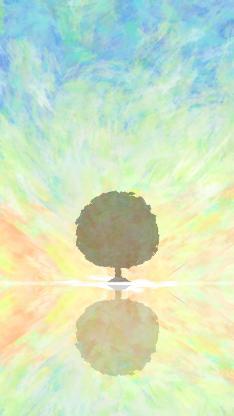 插画 树影 渐变 色彩 倒映