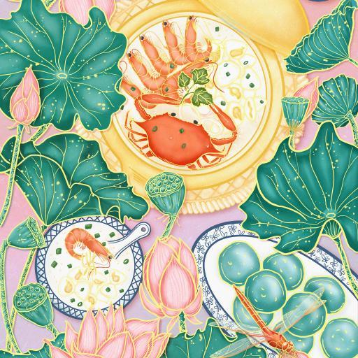 螃蟹 虾 荷叶 海鲜粥 插画 荷花